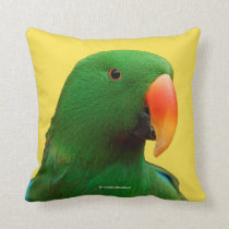 """The Green Orator"" Eclectus Parrot Throw Pillow"