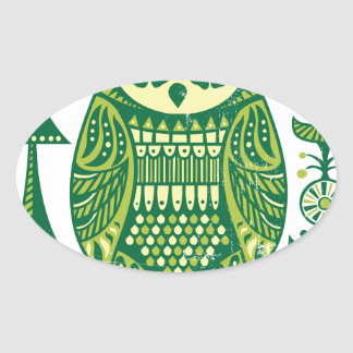 The Green Owl Oval Sticker