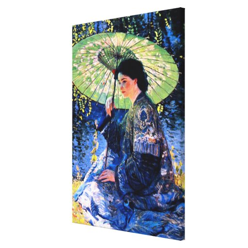 The Green Parasol, a Guy Rose Painting Stretched Canvas Print