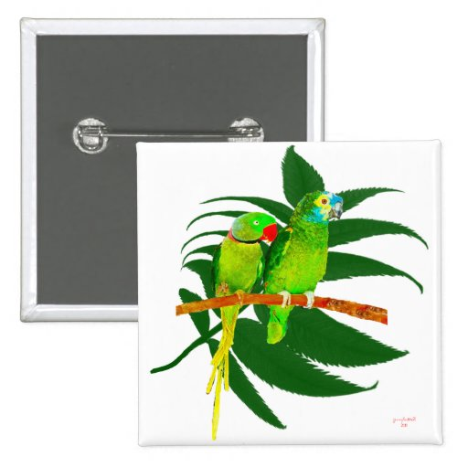The Green Parrots Gifts 2 Inch Square Button