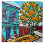 """The """"Green Streetcorner, Tucson Barrio"""" Tile<br><div class=""""desc"""">Enjoy this new """"Green Streetcorner,  Tucson Barrio"""" Decorative Tile,  featuring an image of one of Neil Myers' popular Tucson Barrio paintings!</div>"""