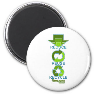 The Green World Mission - Reduce, Reuse, Recycle Magnet