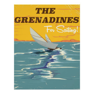 The Grenadines Vintage travel poster. Poster
