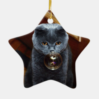 The grey cat British breed with large yellow eyes Ceramic Ornament