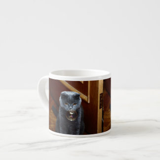 The grey cat British breed with large yellow eyes Espresso Cup