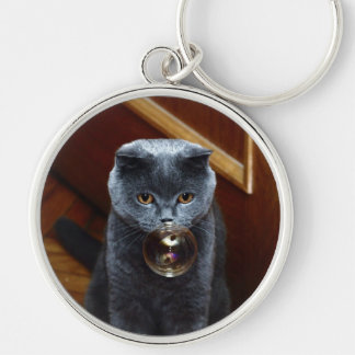 The grey cat British breed with large yellow eyes Keychain