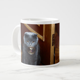 The grey cat British breed with large yellow eyes Large Coffee Mug