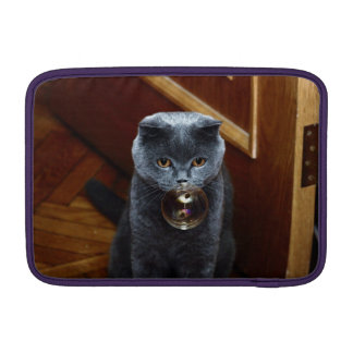 The grey cat British breed with large yellow eyes Sleeves For MacBook Air