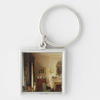 The Grey Drawing Room Silver-Colored Square Keychain