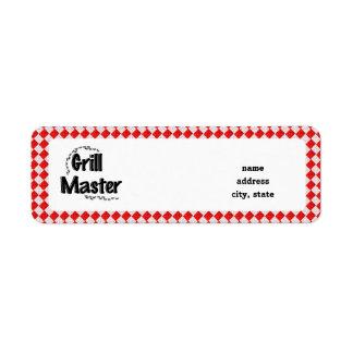 The Grill Master w/Picnic Table & Ants Custom Return Address Label