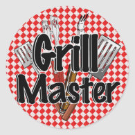 The Grill Master with BBQ Tools Classic Round Sticker
