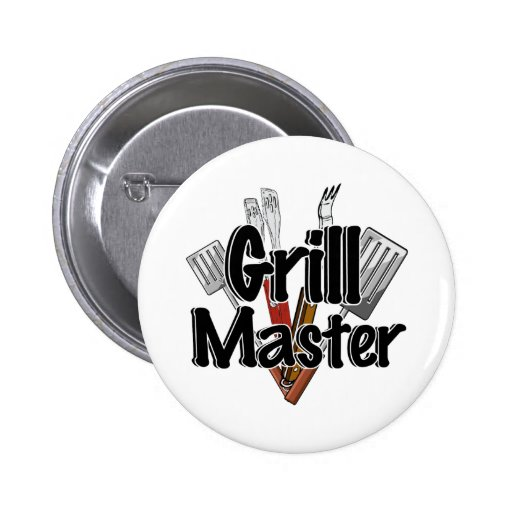 The Grill Master with BBQ Tools Pinback Buttons