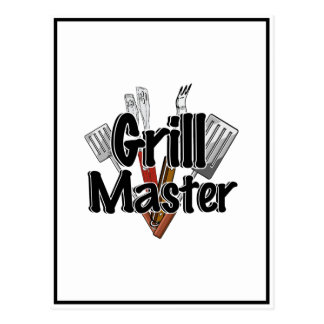 The Grill Master with BBQ Tools Postcard