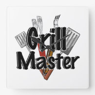 The Grill Master with BBQ Tools Square Wall Clock
