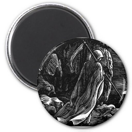"""""""The Grim Reaper"""" Mexico's """"Day of the Dead"""" 2 Inch Round Magnet"""