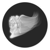 The Grim Reaper Rides Again Round Sticker
