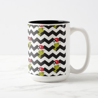 The Grinch | Black & White Holiday Chevron Pattern Two-Tone Coffee Mug