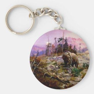 The Grizzly Basic Round Button Keychain