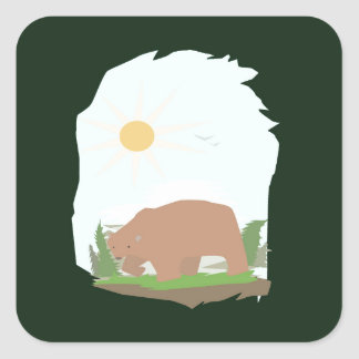 The Grizzly Bear Square Sticker