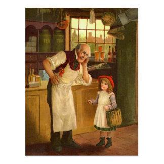 The Grocer Vintage Illustration Postcard