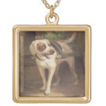 The Grocer's Dog (oil on panel) Square Pendant Necklace