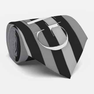 the Groom Black and Silver Pinstripes Wedding Neck Tie