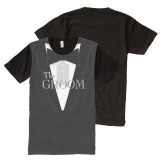 The Groom Black Bowtie Tuxedo All-Over Print T-shirt