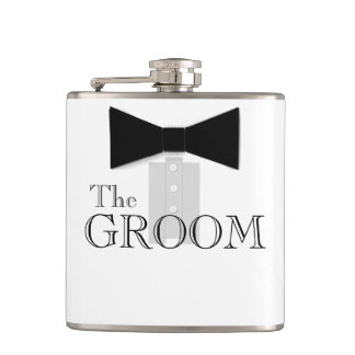 The Groom Bow Tie Tuxedo Flask