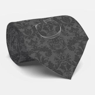 the Groom Charcoal Gray Damask Wedding Attire Tie