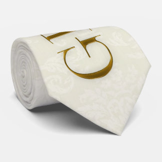 the Groom Cream Damask and Gold Wedding Neck Tie