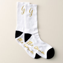 The Groom Gold Monogram Winter Wedding Socks