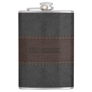 The Groom Masculine Brown & Black Leather Texture Hip Flask