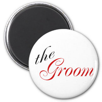 The Groom (Script Red) 2 Inch Round Magnet
