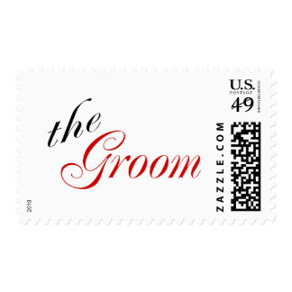 The Groom (Script Red) Postage Stamps