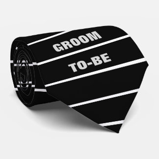 the GROOM TO-BE Text Bold Black and White Stripes Tie