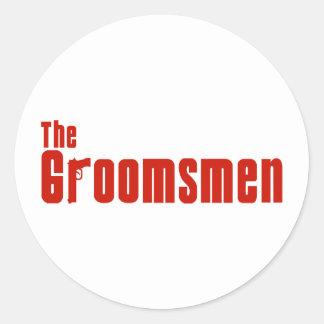 The Groomsmen (Mafia Red) Classic Round Sticker