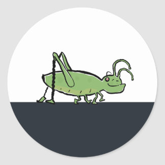 the grooving grasshopper classic round sticker