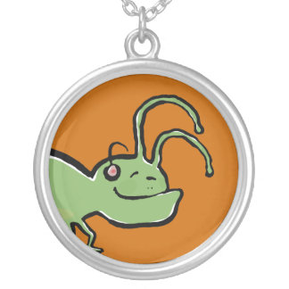 the grooving grasshopper round pendant necklace