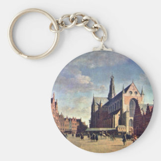 The Grote Markt In Haarlem With The St. Bavochurch Keychain
