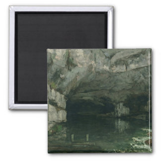 The Grotto of the Loue, 1864 2 Inch Square Magnet