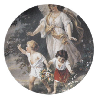 The Guardian Angel and Children, Vintage Painting. Melamine Plate