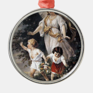 The Guardian Angel and Children, Vintage Painting. Metal Ornament