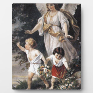 The Guardian Angel and Children, Vintage Painting. Plaque