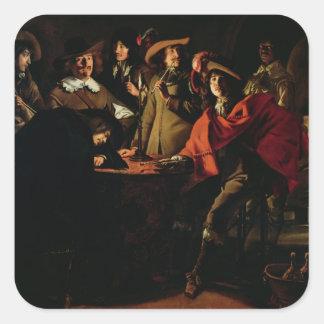 The Guards Smoking, 1643 Square Sticker