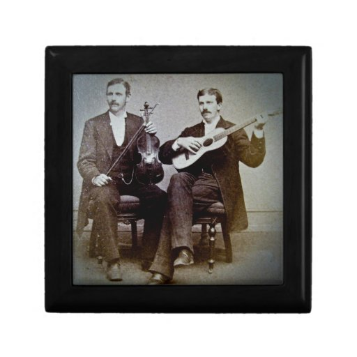 The Guitar Player and the Violinist Vintage Jewelry Box