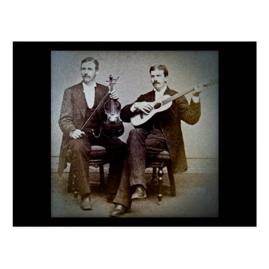 The Guitar Player and the Violinist Vintage Postcard