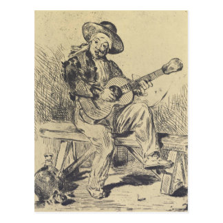 The guitar Player by Edouard Manet Postcard