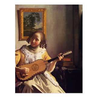 The guitar player by Johannes Vermeer Postcard