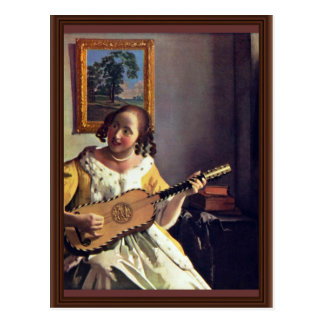 The Guitar Player By Vermeer Van Delft Jan Post Card