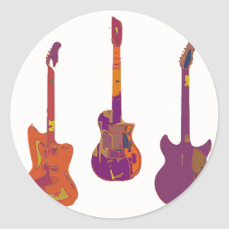 THE GUITAR PLAYS CLASSIC ROUND STICKER